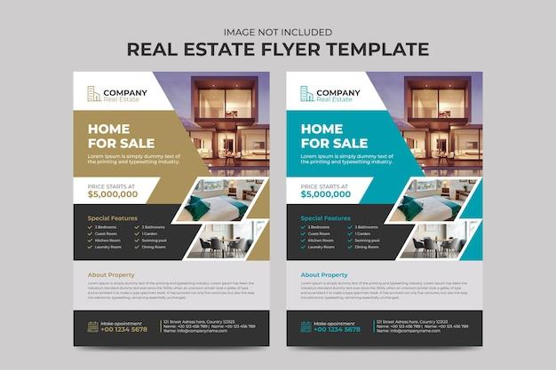 Modello di volantino pulito moderno agente immobiliare e attività di costruzione