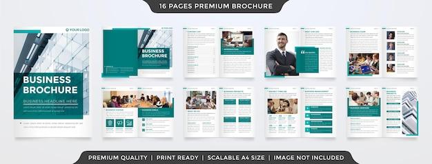 Modello di brochure aziendale multiuso pulito con stile minimalista e layout semplice