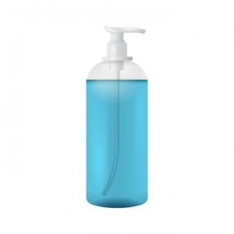 Modello di bottiglia di plastica pulita con dispenser per sapone liquido
