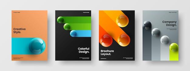 Set di cartoline con sfere realistiche pulite