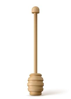 Pulisca il cucchiaio di legno semplice del miele isolato.