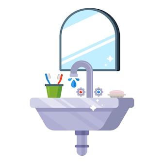Un lavandino pulito nella toilette per lavarsi la mattina. piatto
