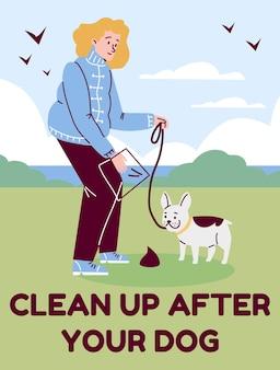 Pulisci dopo la tua carta del cane con il proprietario dell'animale domestico e l'illustrazione vettoriale piatta del cane