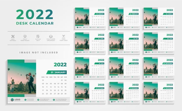 Modello di progettazione di calendario da parete pulito