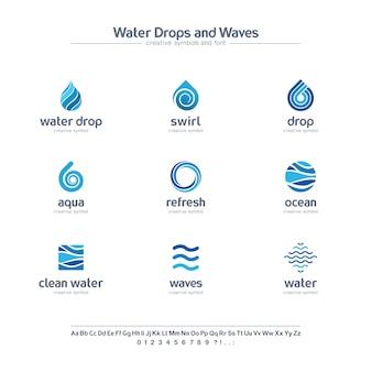 Insieme di simboli creativo delle gocce e delle onde di acqua pulita, concetto della fonte. logo di affari dell'estratto di colore blu di turbinio fresco. icona oceano, mare, spirale.