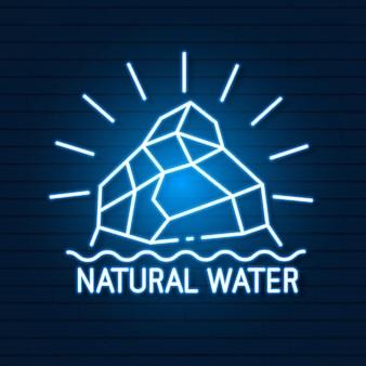 Insegna al neon dell'acqua naturale dell'acqua pulita. display a led con luce al neon.