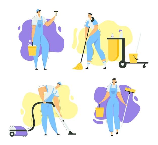 Personaggi delle pulizie con scopa, aspirapolvere e strumenti. servizio di pulizia con personale con attrezzatura. casalinga che lava la casa, lavoratore del bidello.