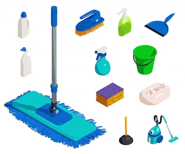 Set di icone di attrezzature più pulite, stile isometrico