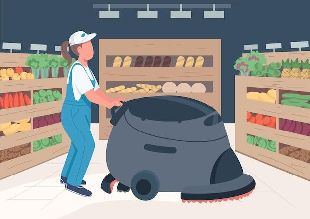 Pulitore nel colore piatto della drogheria. custode del supermercato con personaggi dei cartoni animati di macchina per la pulizia 2d con scaffali del prodotto sullo sfondo. servizio di pulizie commerciale