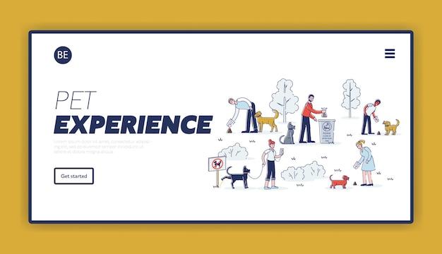 Pulizia dopo il modello di pagina di destinazione del cane con set di proprietari di animali domestici del fumetto che raccolgono rifiuti durante la passeggiata