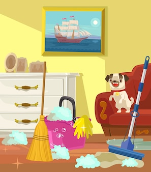 Banner di pulizia. soggiorno.
