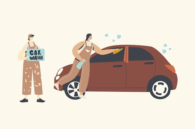 Impresa di pulizie impiegati personaggi femminili processo di lavoro Vettore Premium