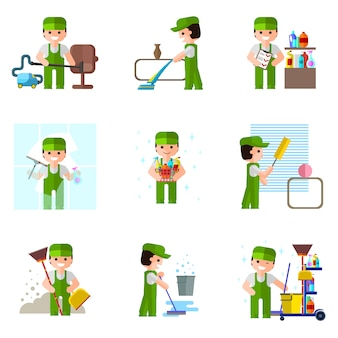 Impresa di pulizie, icona, professionisti