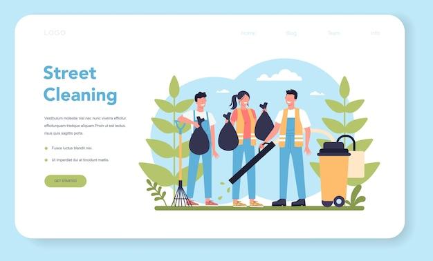 Banner web o pagina di destinazione del servizio di pulizie o bidello