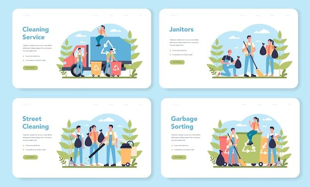 Set di pagine di destinazione web del servizio di pulizie o bidello. personale di pulizia con attrezzature speciali. lavoratori del bidello che puliscono le strade e selezionano i rifiuti. illustrazione vettoriale piatto isolato