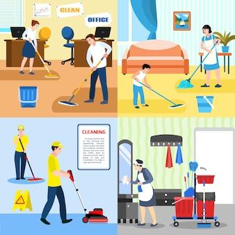 Insieme dell'illustrazione di concetto di pulizia, stile piano