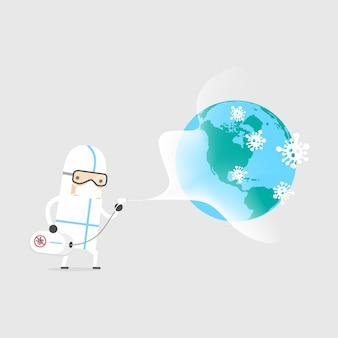 Pulizia e disinfezione per prevenire covid-19 in tutto il mondo.