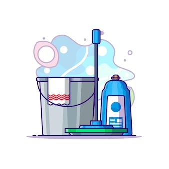 Illustrazione del fumetto di attrezzature per la pulizia. concetto di festa del lavoro bianco isolato. stile cartone animato piatto