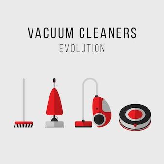 Set di vettore di attrezzature di pulizia. evoluzione di aspirapolvere. icone. stile piatto.