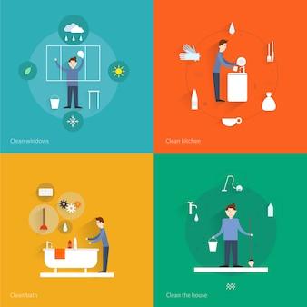 Le icone piane di pulizia messe con la casa del bagno della cucina delle finestre hanno isolato l'illustrazione di vettore