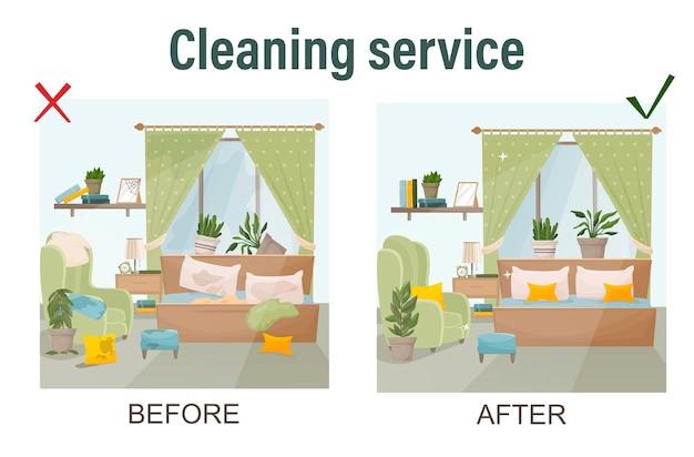 La pulizia del concetto di casa prima e dopo la vista sul modello della stanza per i servizi di pulizia ha isolato l'illustrazione di vettore nell'illustrazione di vettore di stile del fumetto