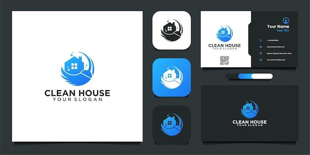 Logo della casa delle pulizie e design del biglietto da visita
