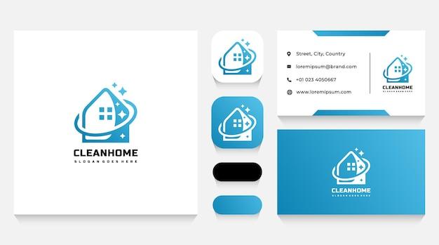 Modello e biglietto da visita del logo della casa delle pulizie
