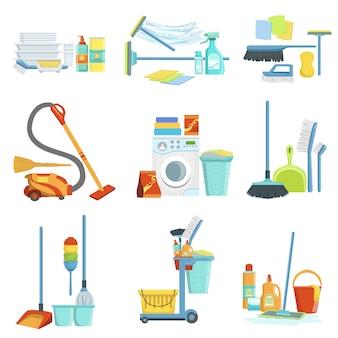 Pulizia dei set di attrezzature per la casa