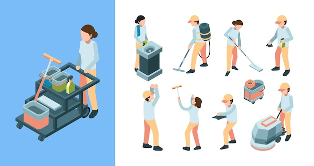Industria delle pulizie isometrica. le attrezzature dei lavoratori dei servizi di pulizia industriale rimuovono la moquette.