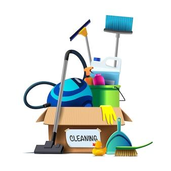 Inventario di pulizia in una scatola di cartone.