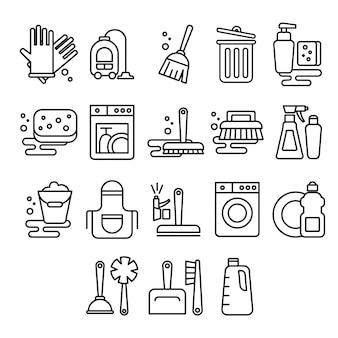 Pulizia, lavanderia, lavaggio, scopa, pulizia, lavaggio finestre, freschezza, secchio in stile piatto