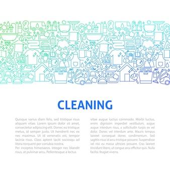 Modello di progettazione della linea di pulizia. illustrazione vettoriale di banner di contorno.