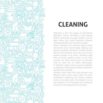 Concetto di modello di linea di pulizia. illustrazione di vettore del disegno del profilo.