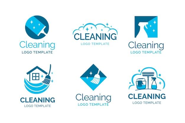 Collezione logo di pulizia Vettore Premium