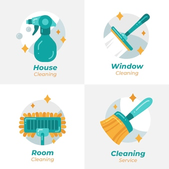 Collezione logo di pulizia