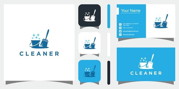 Pulizia in stile logo vettore premium