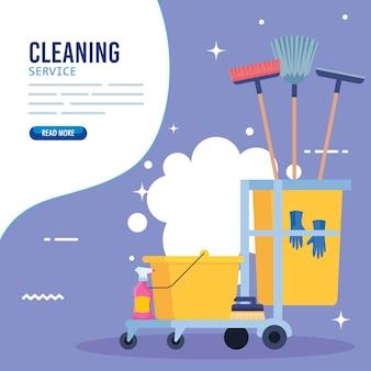 Insegna di servizio di pulizia, carrello di pulizia con progettazione dell'illustrazione delle icone dell'attrezzatura