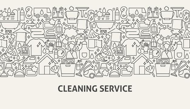Concetto di banner di servizio di pulizia. illustrazione vettoriale di linea web design.