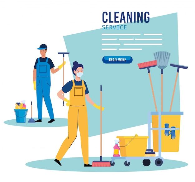 Insegna di servizio di pulizia, lavoratori delle coppie con il carrello di pulizia con progettazione dell'illustrazione delle icone dell'attrezzatura