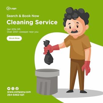 Il design della bandiera del servizio di pulizia con l'uomo delle pulizie sta gettando una busta dell'immondizia nella pattumiera.