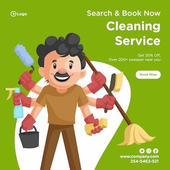 Servizio di pulizia banner design con uomo delle pulizie con più mani.