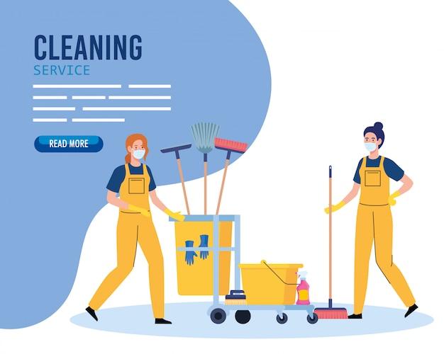 Insegna di servizio di pulizia, lavoratrici di servizio di pulizia che indossano maschera medica