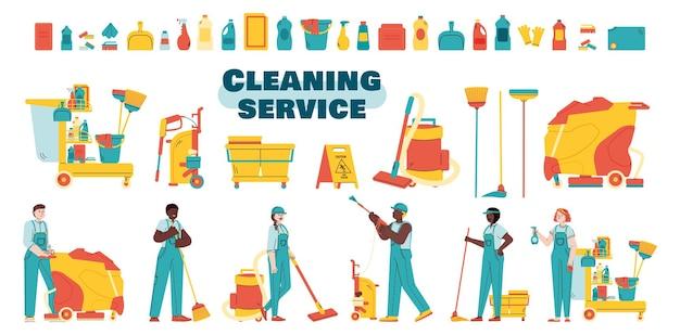Pacchetto di servizi di pulizia di personale e attrezzature illustrazione vettoriale piatta isolata