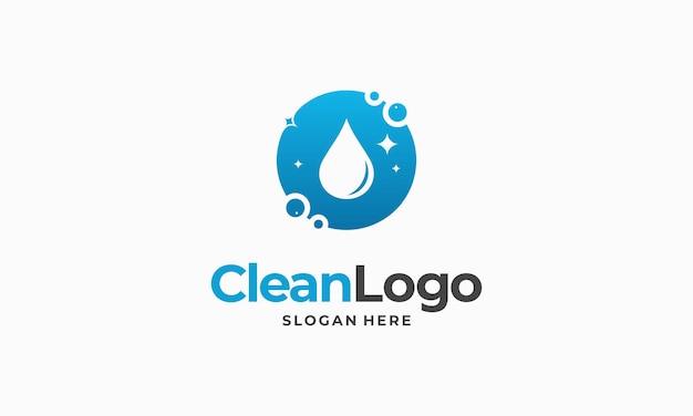 Progettazione del logo aziendale del servizio di pulizia, vettore del concetto di logo di pulizia ecologica