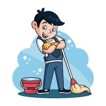 Fumetto di servizio di pulizia con posa carina. illustrazione dell'icona