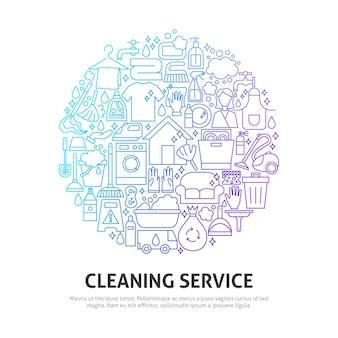 Concetto di cerchio di servizio di pulizia. illustrazione di vettore del disegno del profilo.