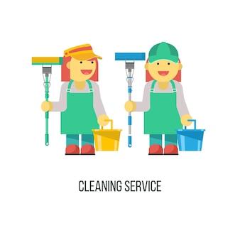 Servizio di pulizia. donna delle pulizie con mop e secchio in mano.