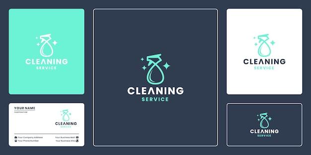 Vettore di progettazione del logo della società di servizi di pulizia. detergente per vetri, spray per vetri