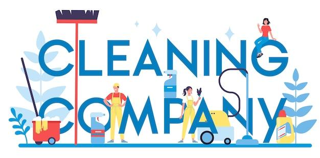 Servizio di pulizia o concetto di intestazione tipografica aziendale. donna e uomo che fanno i lavori domestici. occupazione professionale. bidello che lava pavimenti e mobili.