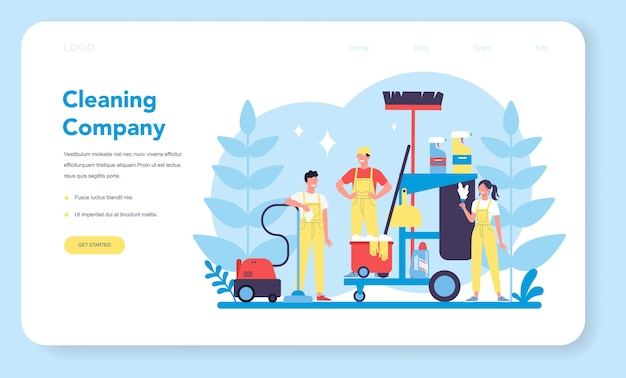 Servizio di pulizia o banner web aziendale o pagina di destinazione